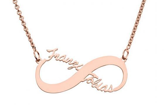 Chaîne doré rose Infinity - Libre choix du nom