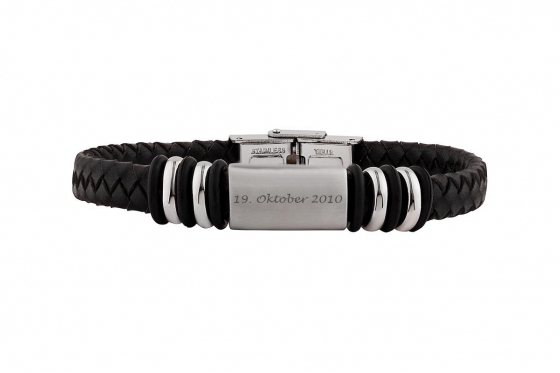 Bracelet en cuir Leandro   - personnalisable