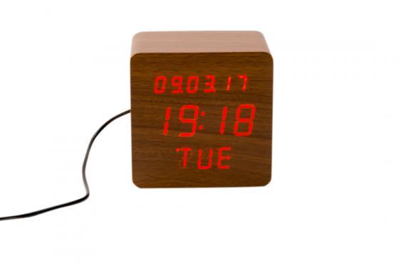 Réveil LED en bois - The Bright braun 2