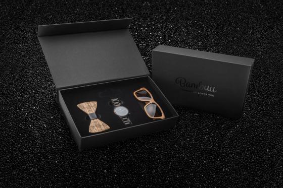 Geschenkbox Gentlemen Bambuu - inkl. Uhr, Sonnenbrille und Fliege