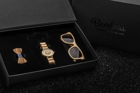 Geschenkbox Ladies Bambuu - inkl. Uhr, Sonnenbrille & Haargummi