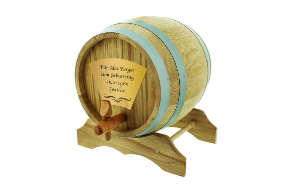 Eichen-Holzfass - 2 Liter, mit Gravur