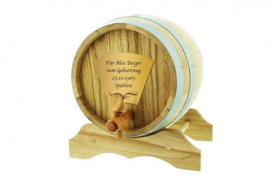 Eichen-Holzfass - 2 Liter, mit Gravur 1