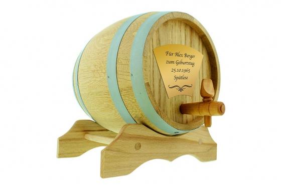 Eichen-Holzfass - 2 Liter, mit Gravur 2