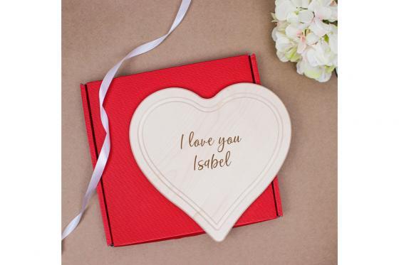 Planchette en forme de coeur - avec gravure