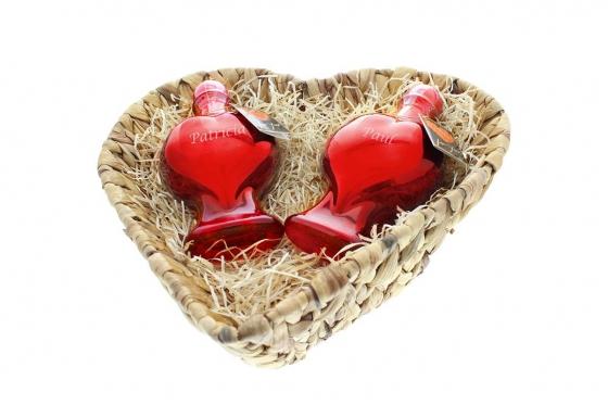 Herzflaschen-Duo - mit Gravur