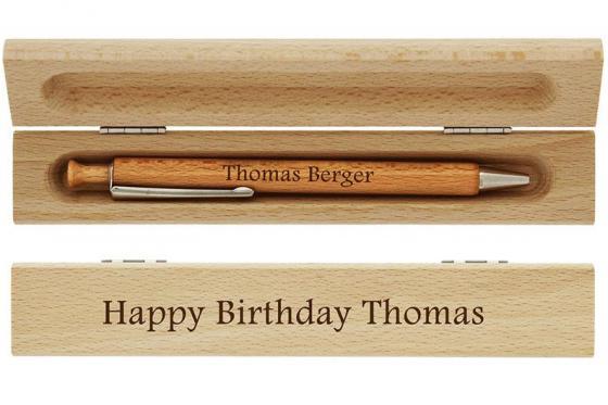 Holz-Kugelschreiber - mit Gravur 2