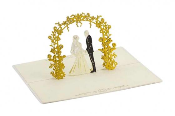 Geschenkkarte - Kirigami Arco Hochzeitspaar