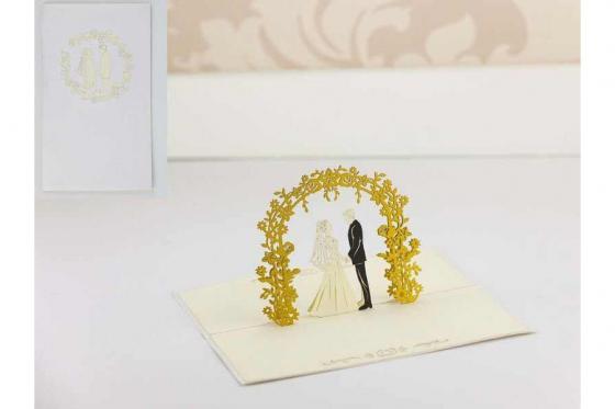 Geschenkkarte - Kirigami Arco Hochzeitspaar             1