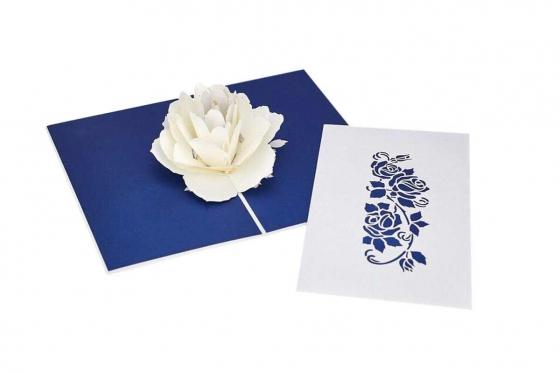 Geschenkkarte - Kirigami Rose weiss