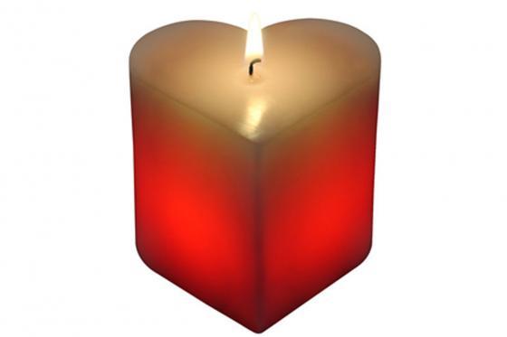 Kerze in Herzform - mit LED