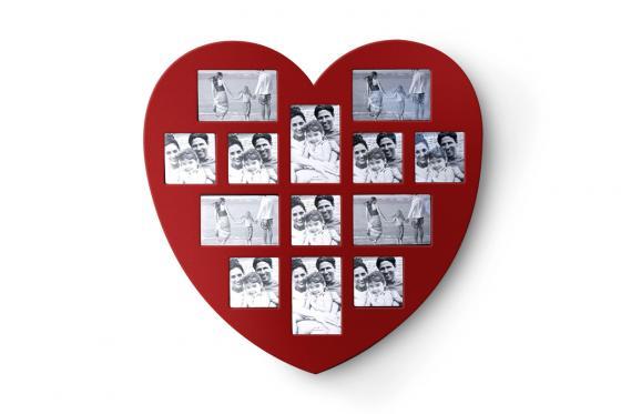Herz Bilderrahmen - für 13 Fotos
