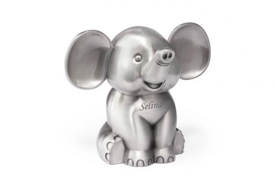 Spardose Elefant - versilbert, mit Gravur