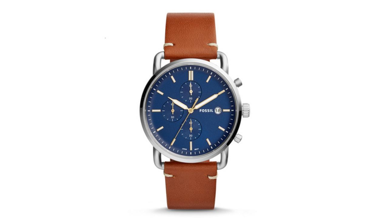 Bracelet montre acier fossil pour homme