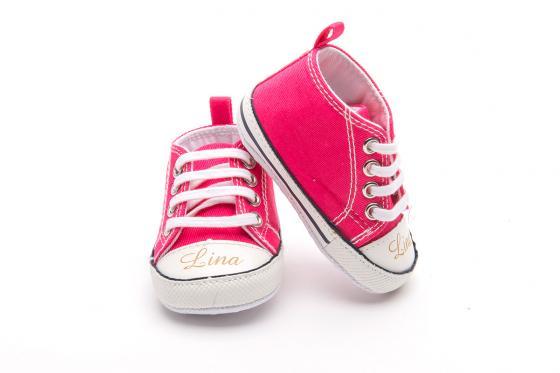 Chaussures bébé avec gravure - Chuck pink, 0 - 6 mois