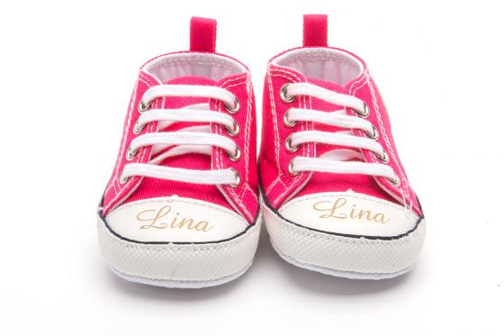 Chaussures bébé avec gravure - Chuck pink, 0 - 6 mois 1