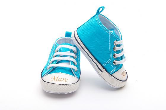 Chaussures bébé avec gravure - Chuck blue,  6 - 12 mois