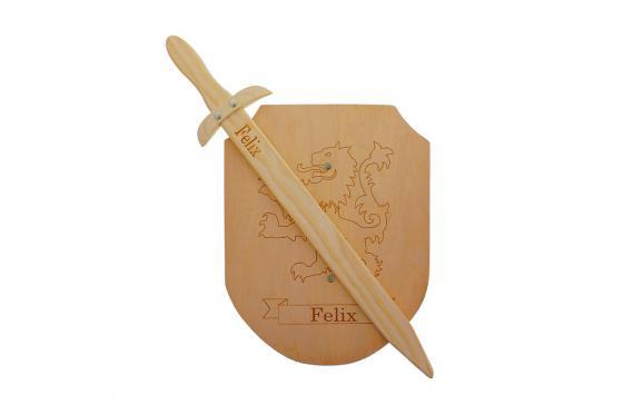 Epée & bouclier en bois - Avec gravure