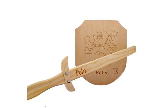 Epée & bouclier en bois - Avec gravure 1
