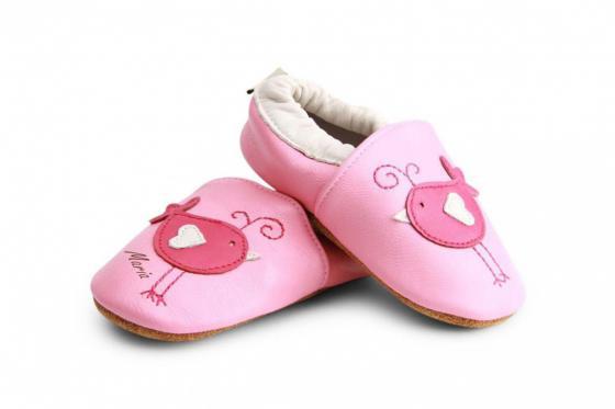 Chaussures bébé avec gravure - Pink birds, 12 - 18 mois