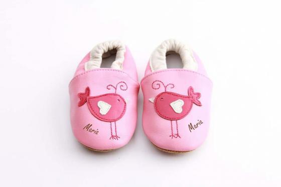 Chaussures bébé avec gravure - Pink birds, 12 - 18 mois 1