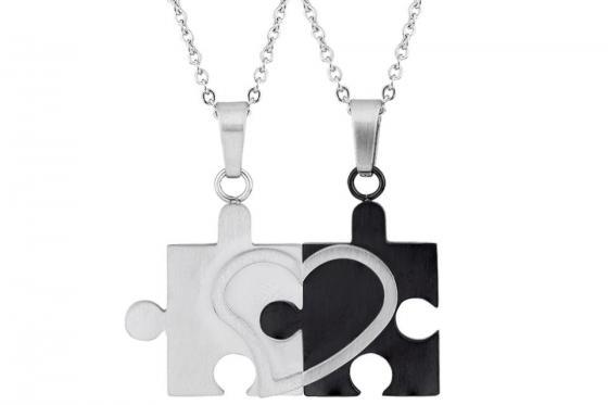 Paarkette Puzzle aus Edelstahl - mit Gravur