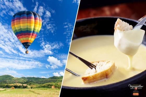 Vol en montgolfière & fondue - Offre de noël - pour 2 personnes, avec fondue au fromage à choix  [article_picture_small]