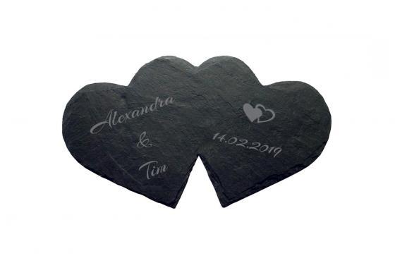 Double coeur en ardoise - Avec gravure
