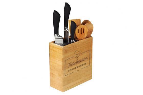 Messerblock & Utensilienbehälter - mit Gravur