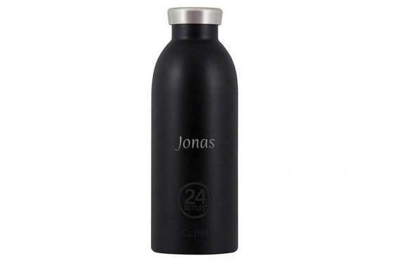 Thermosflasche Tuxedo Black - von 24Bottles, mit Gravur