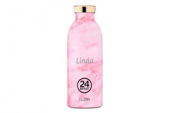 Thermosflasche Pink Marble - von 24Bottles, mit Gravur