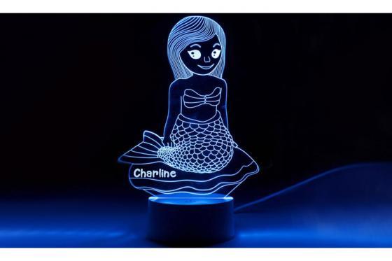 Lampe 3D Sirène - avec gravure