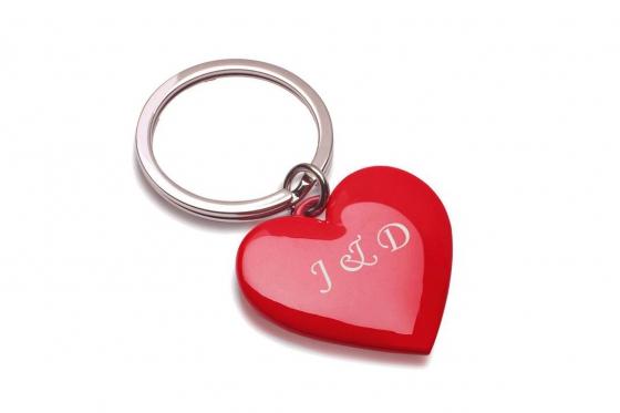 Porte-clefs Coeur - rouge, personnalisé