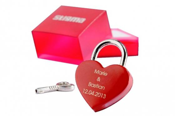 Liebesschloss Corazon Rojo - graviert - Rot