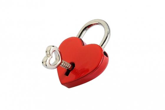 Liebesschloss Corazon Rojo - graviert - Rot 1