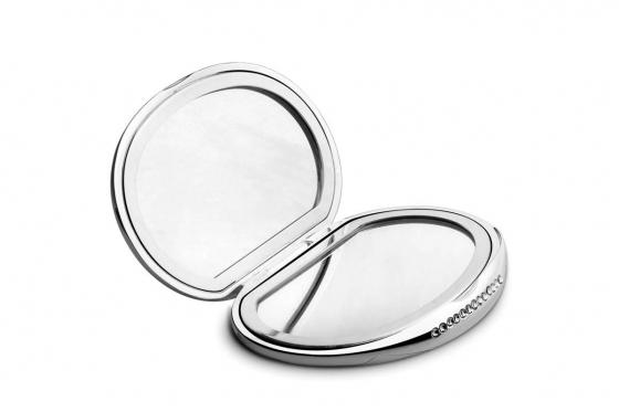 Taschenspiegel Kristall - personalisierbar, versilbert