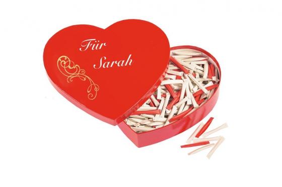 Herzbox mit Gravur - mit 365 Liebesbotschaften