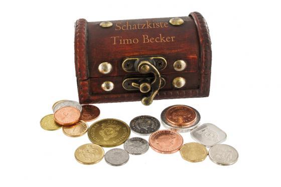 Schatzkiste mit Gravur - inkl. 50 Original-Münzen