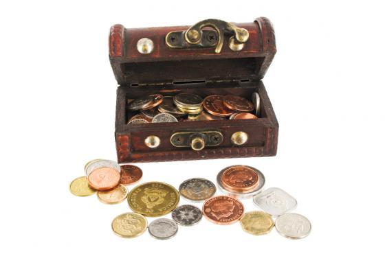 Schatzkiste mit Gravur - inkl. 50 Original-Münzen  1