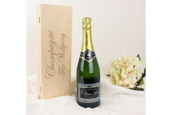 Champagner in Holzkiste - personalisierbar