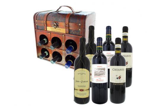 Gravierte Weintruhe - mit europäischen Rotweinen