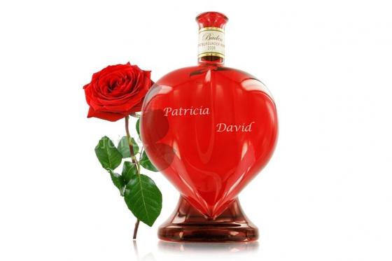 Rosé en bouteille en coeur - Personnalisable