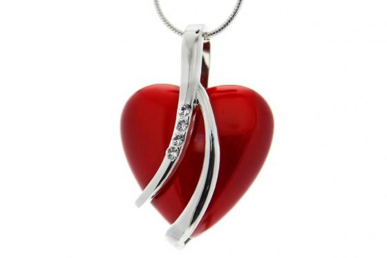 Pendentif coeur - avec 4 cristaux Swarovski