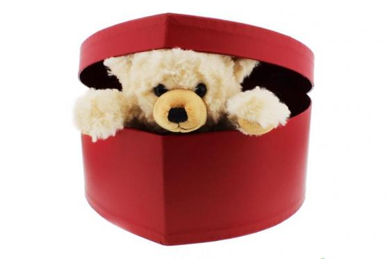 Peluche Teddy - et boîte en forme de cœur 1