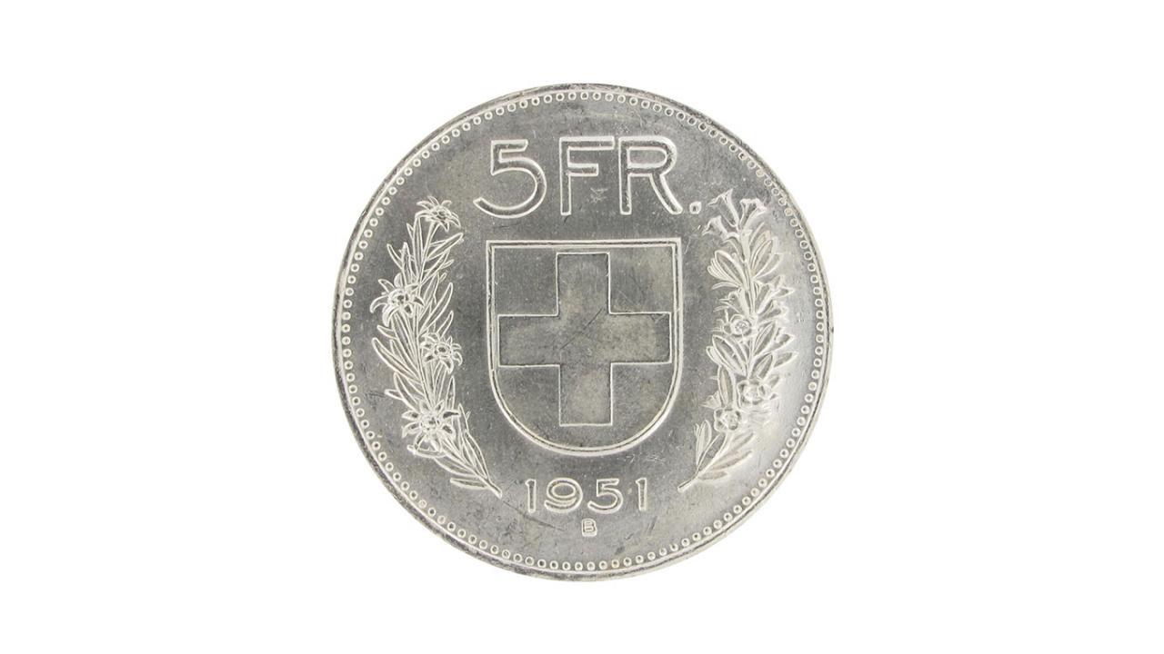 5 Franken Original Münze Silber