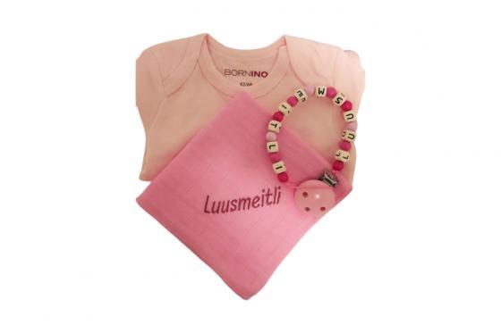 Body-Geschenkset rosa - mit Nuscheli & Nuggikette
