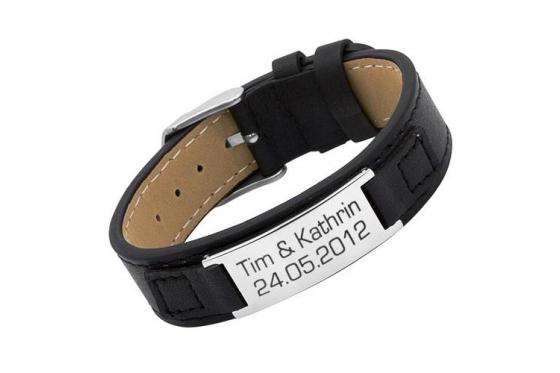 Bracelet en cuir large - Pour homme, avec gravure