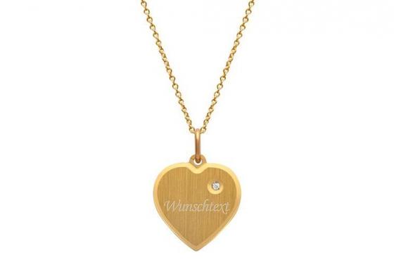 Collier coeur doré - avec gravure diamant