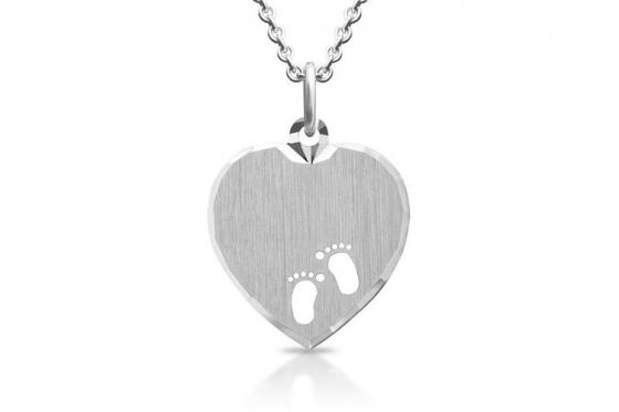 Pendentif coeur + pieds - Gravure + Chaine incluses