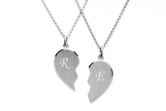 Pendentifs pour couple - avec gravure diamant